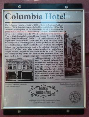 Columbia Hotel Marker image. Click for full size.