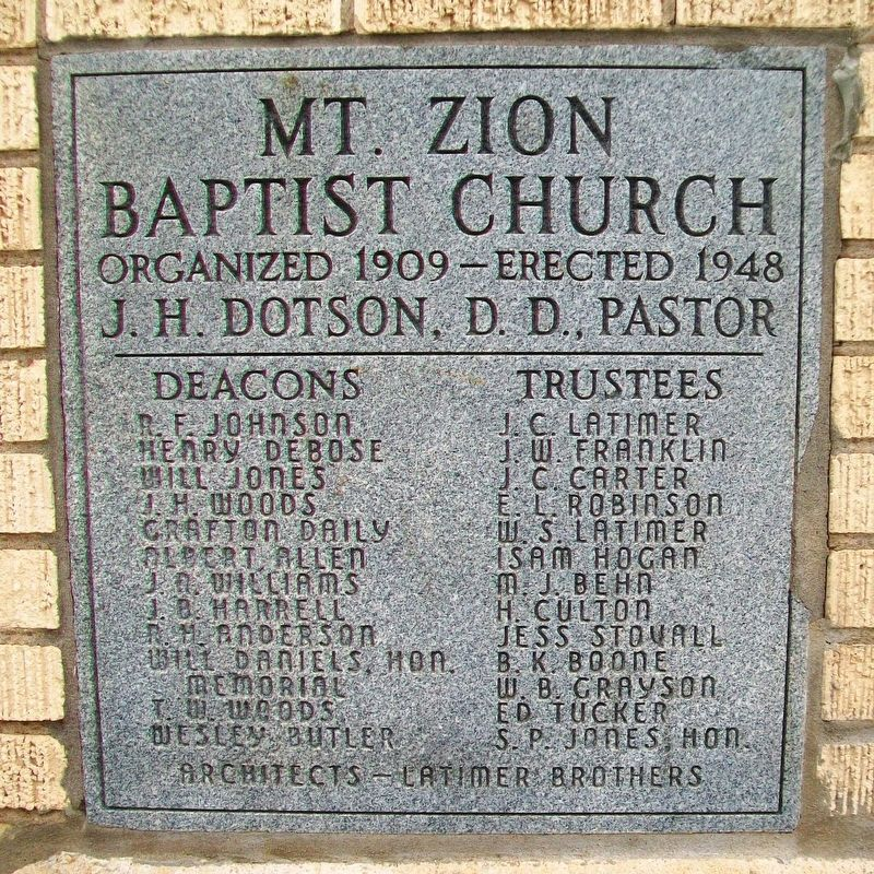 Mt. Zion Baptist Church Date Stone image. Click for full size.