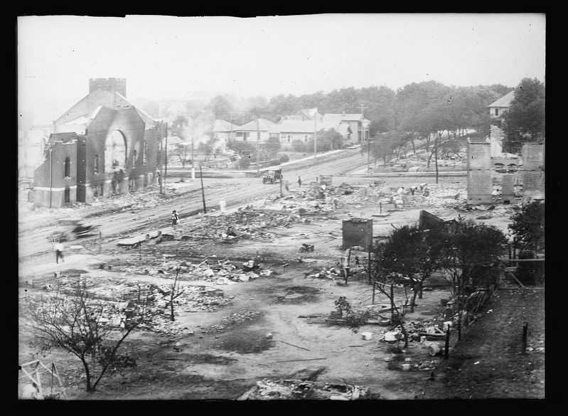 Part of district burned in race riots, Tulsa, Okla. image. Click for full size.
