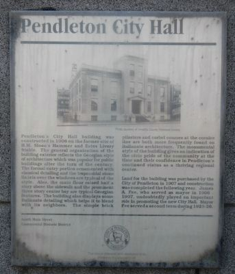 Pendleton City Hall Marker image. Click for full size.