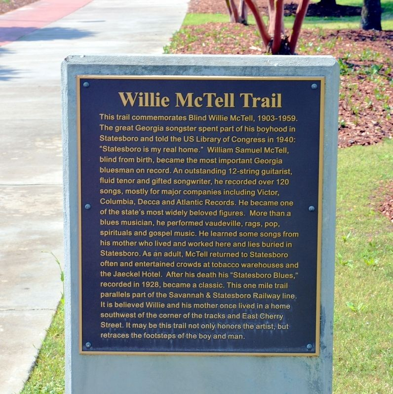Willie McTell Trail Marker image. Click for full size.