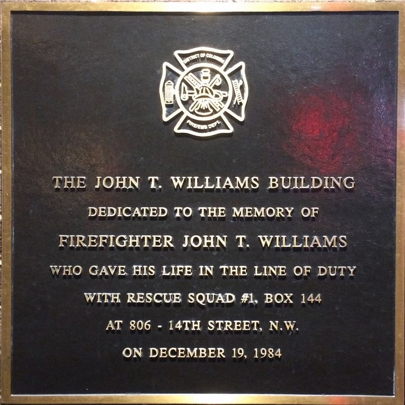 The John T. Williams Building Marker image. Click for full size.