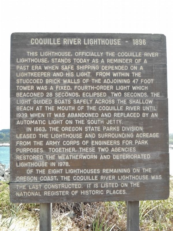 Coquille River Lighthouse - 1896 Marker image. Click for full size.
