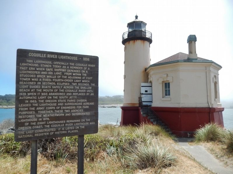 Coquille River Lighthouse - 1896 Marker (<i>wide view</i>) image. Click for full size.