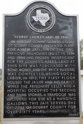 Scurry County Jail of 1912 Marker image. Click for full size.