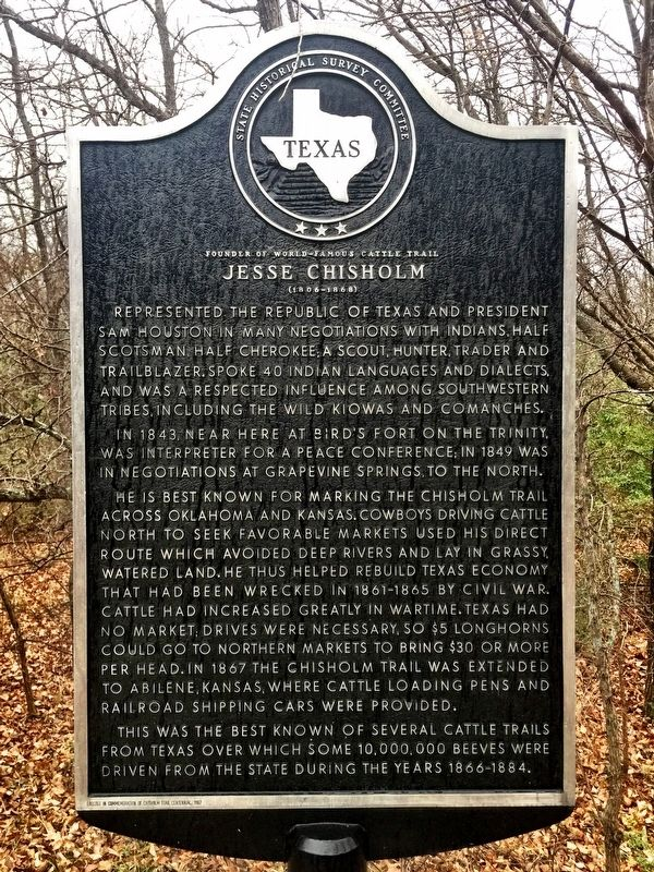 Jesse Chisholm Texas Historical Marker image. Click for full size.