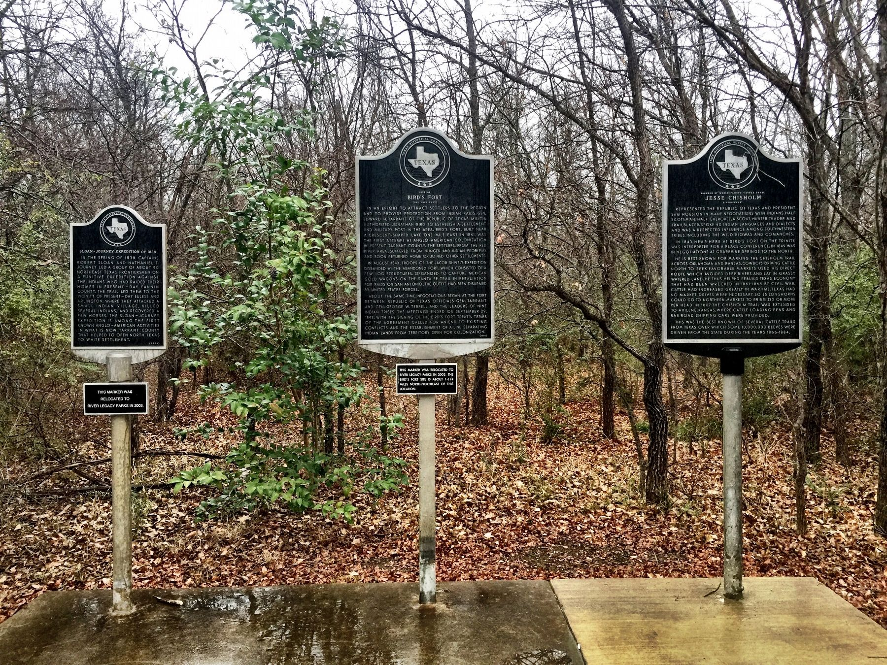 Jesse Chisholm Marker, right, with the two other markers in this park image. Click for full size.