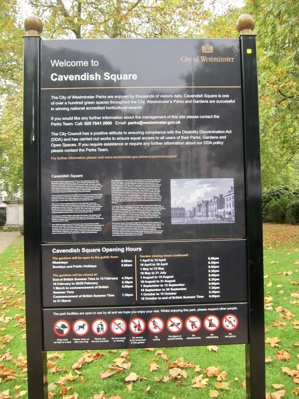 Cavendish Square Marker - Wide View image. Click for full size.