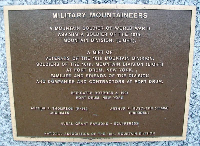 Military Mountaineers Monument Marker image. Click for full size.