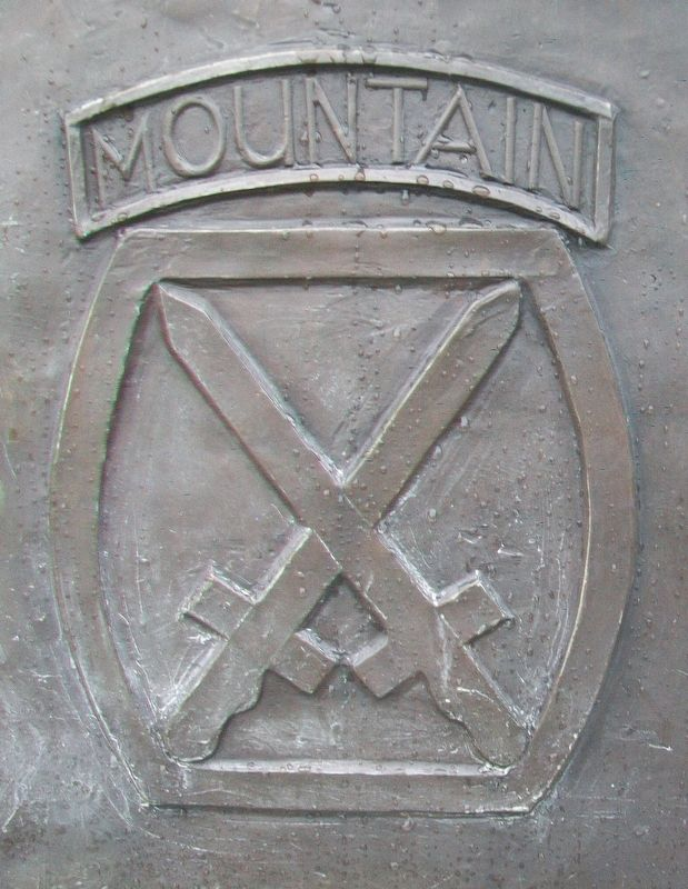 10th Mountain Division Emblem on Military Mountaineers Monument image. Click for full size.