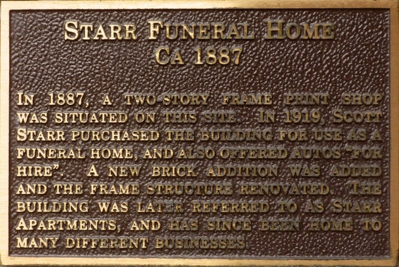 Starr Funeral Home Marker image. Click for full size.