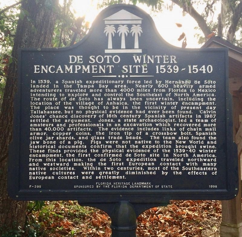 De Soto Winter Encampment Site 1539~1540 Marker image. Click for full size.