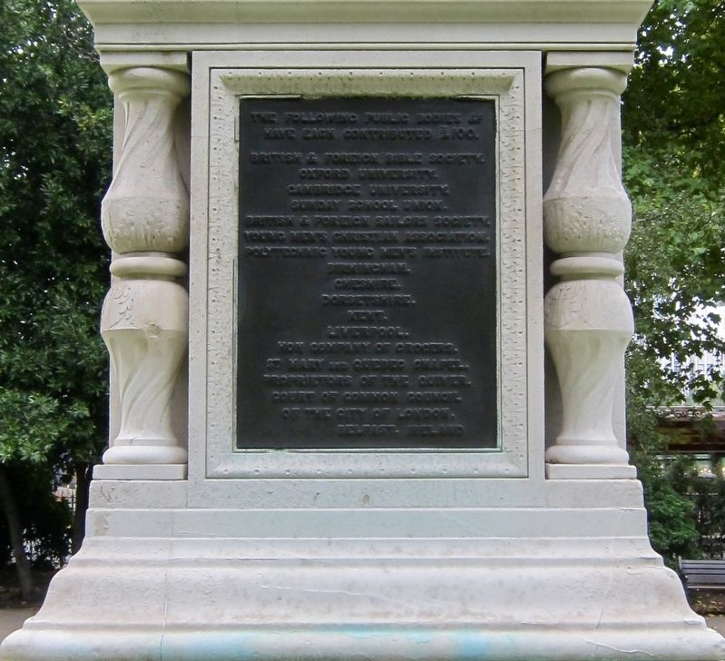William Tyndale Marker - Donor Plaque Found on the Rear of the Plinth image. Click for full size.