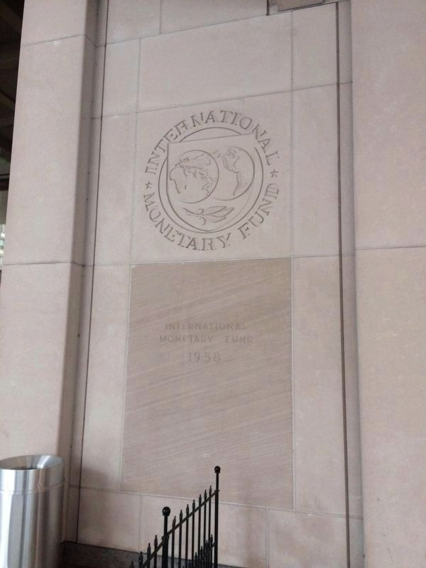 The IMF Cornerstone to the left of the entrance image. Click for full size.