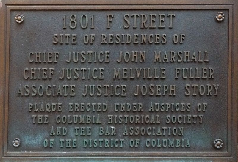 Top plaque of 1801 F Street Marker image. Click for full size.