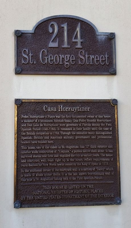 Casa Horruytiner Marker (<i>tall view</i>) image. Click for full size.