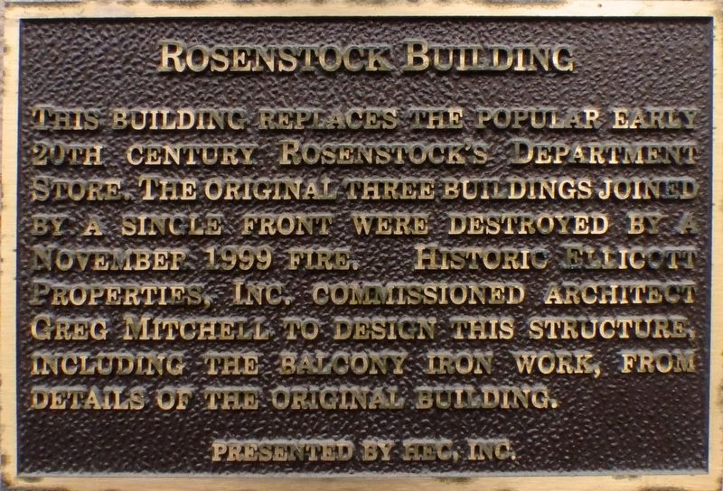 Rosenstock Building Marker image. Click for full size.