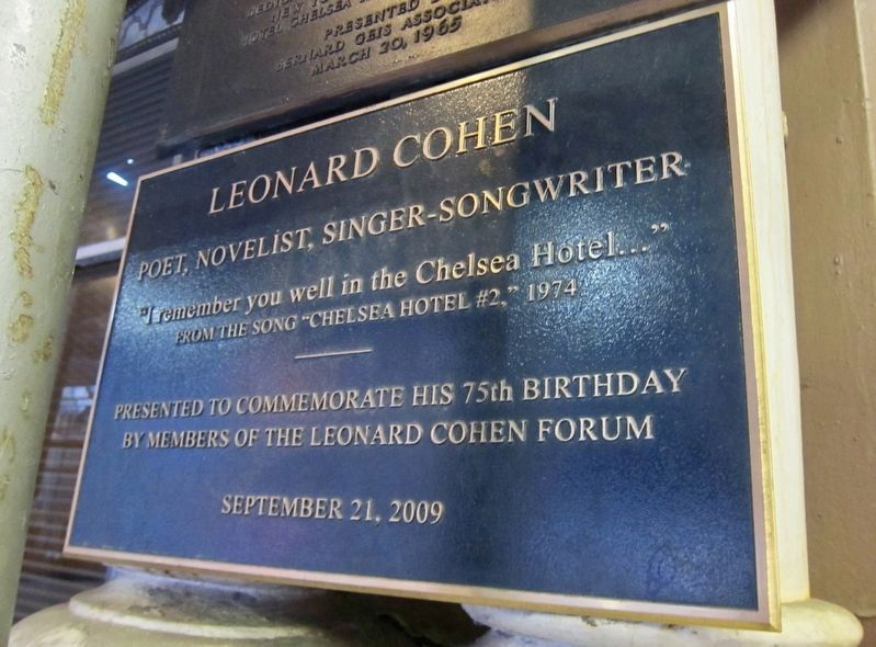 Leonard Cohen Plaque image. Click for full size.