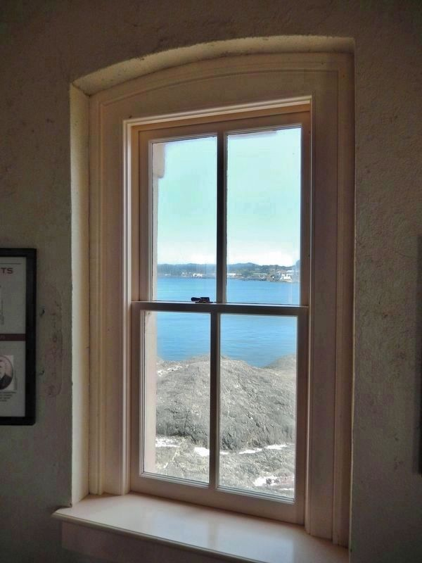 Coquille River Lighthouse (<i>interior view through window</i>) image. Click for full size.