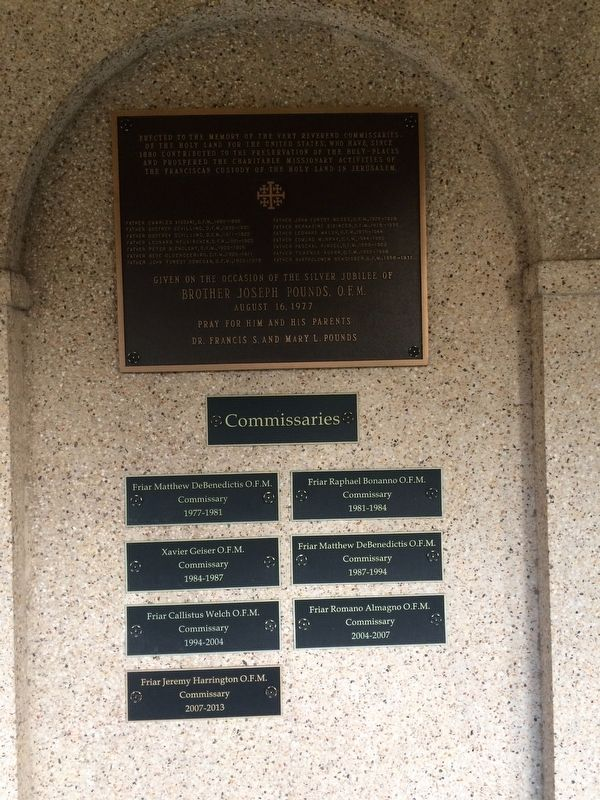 Erected to the Memory of the Very Reverend Commissaries Marker image. Click for full size.