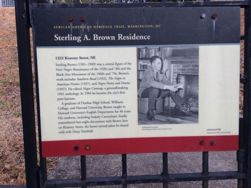 Sterling A. Brown Residence Marker image. Click for full size.