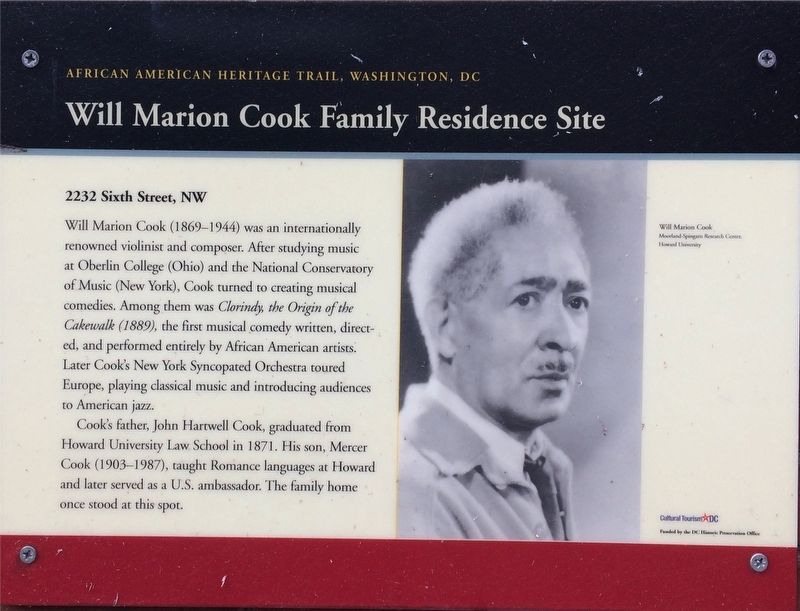 Will Marion Cook Family Residence Site Marker image. Click for full size.