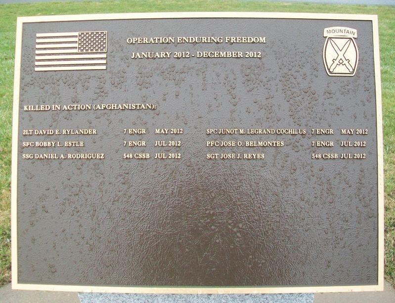 10th Mountain Division Heroes Walk Memorial 2012 Marker image. Click for full size.