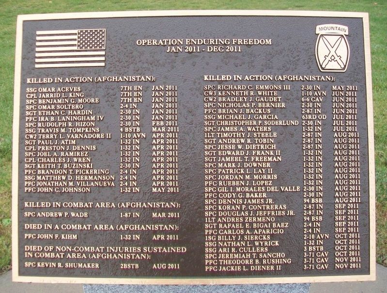 10th Mountain Division Heroes Walk Memorial 2011 Marker image. Click for full size.
