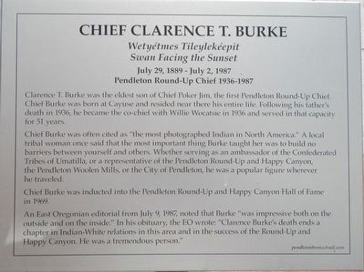 Chief Clarence T. Burke Marker image. Click for full size.