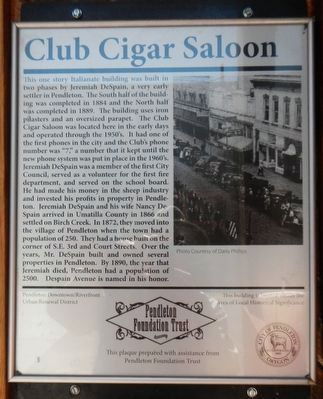 Club Cigar Saloon Marker image. Click for full size.