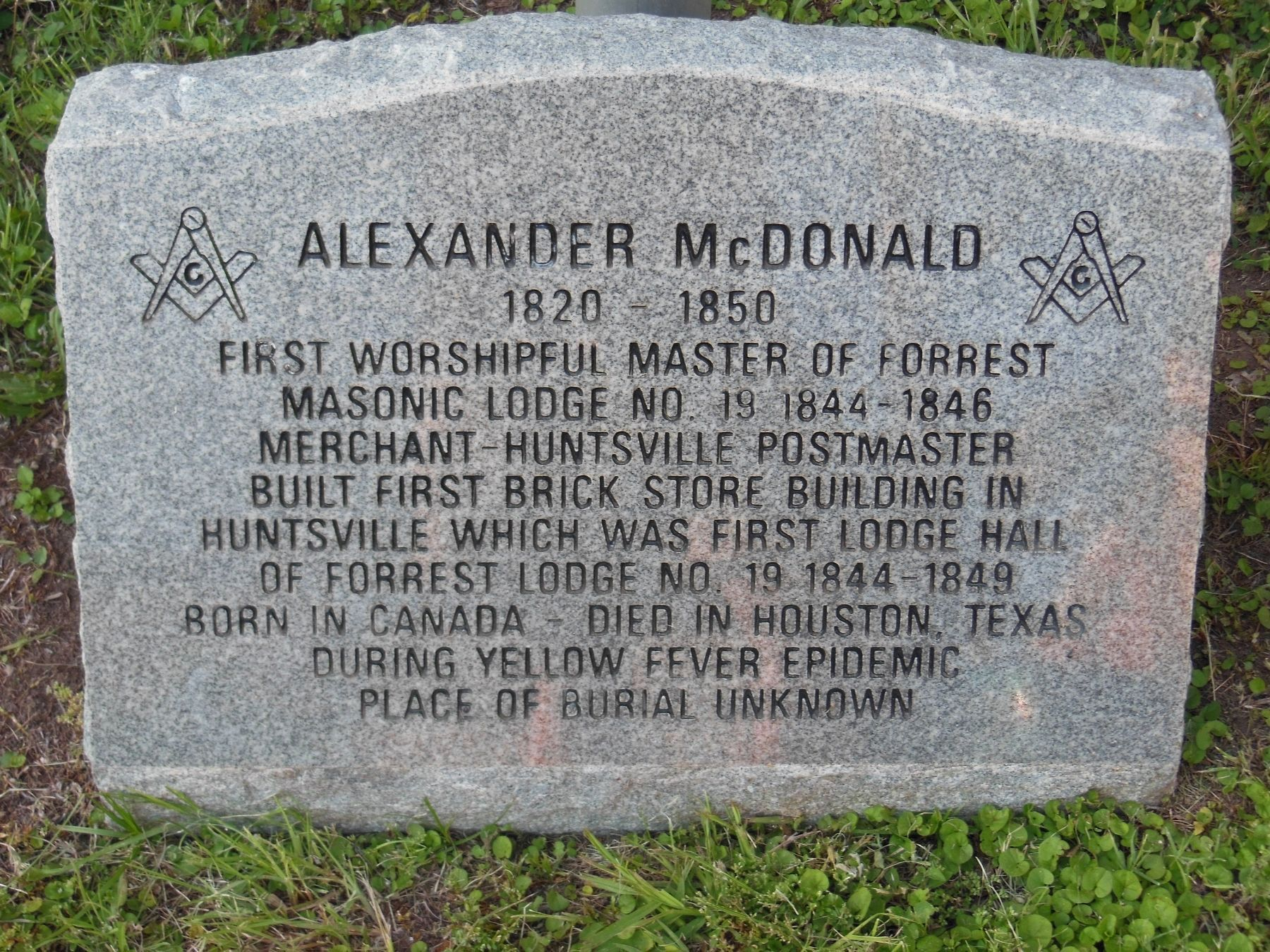 Alexander McDonald Memorial (<i>located at current Forrest Lodge building </i>) image. Click for full size.