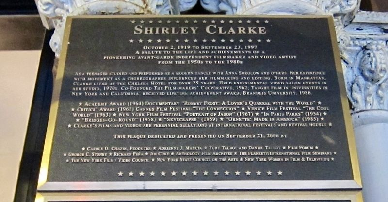 Shirley Clarke Marker image. Click for full size.