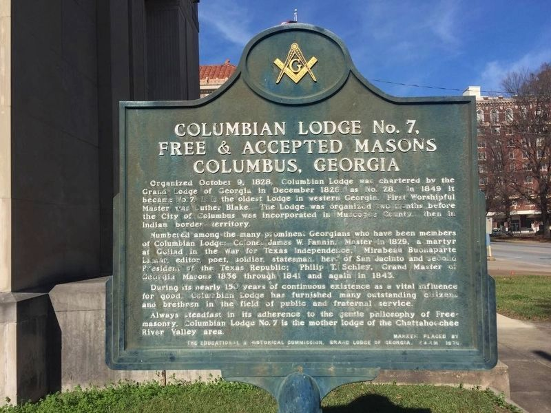 Columbian Lodge No. 7, Free & Accepted Masons Columbus, Georgia Marker image. Click for full size.