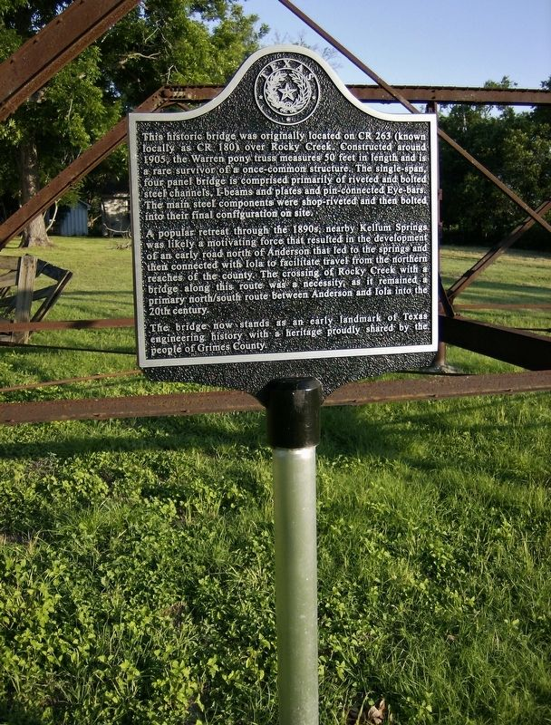Rocky Creek Bridge Marker (<i>tall view</i>) image. Click for full size.