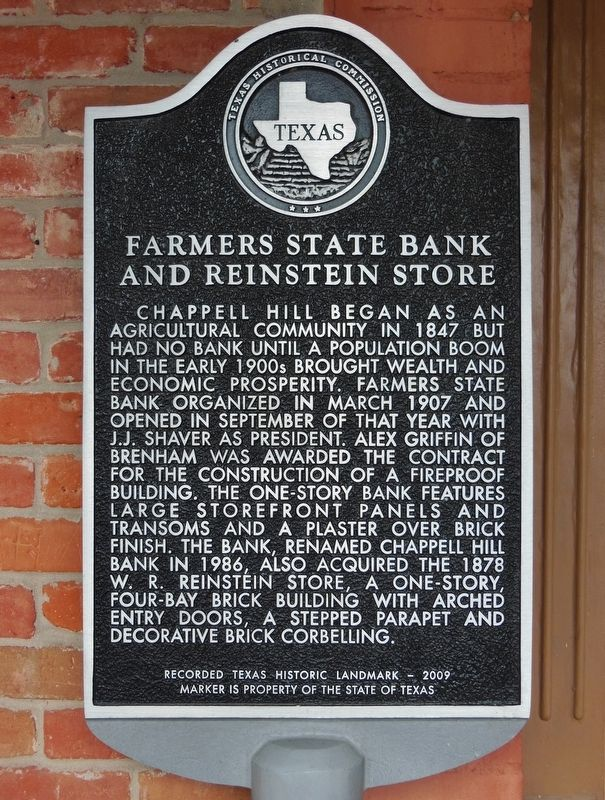 Farmers State Bank and Reinstein Store Marker image. Click for full size.