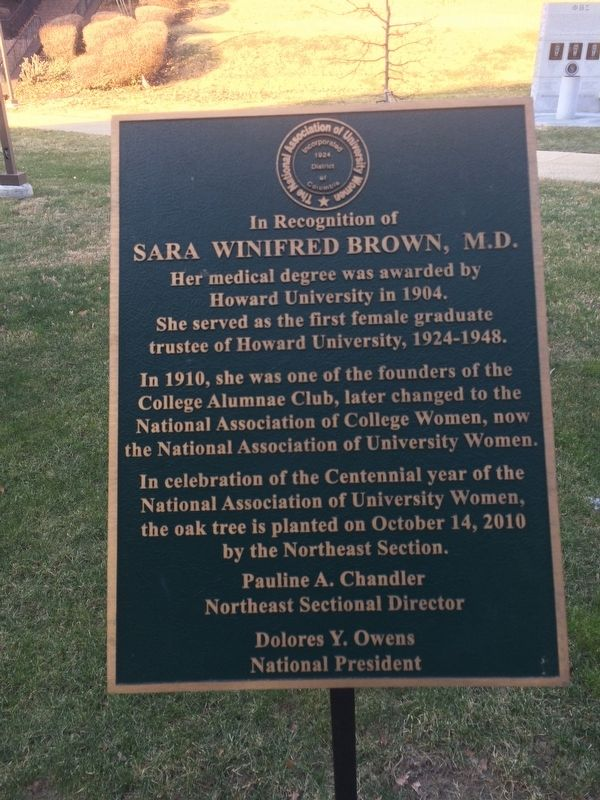 Sara Winifred Brown, M.D. Marker image. Click for full size.