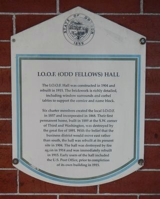 I.O.O.F. (Odd Fellows) Hall Marker image. Click for full size.