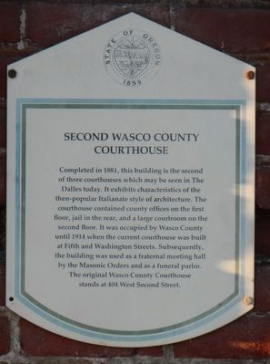 Second Wasco County Courthouse Marker image. Click for full size.
