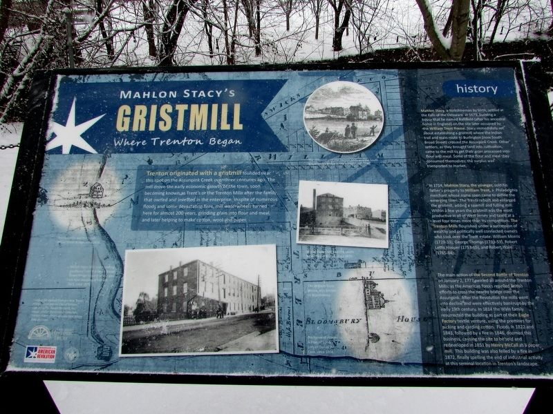 Mahlon Stacy's Gristmill Marker image. Click for full size.