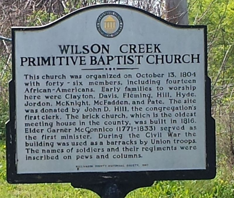 Wilson Creek Primitive Baptist Church Marker image. Click for full size.