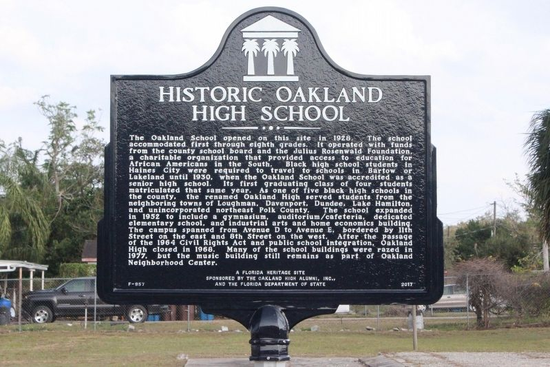 Historic Oakland High School Marker image. Click for full size.