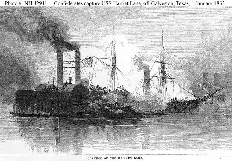 Confederate Ship <i>Bayou City</i> captures the USS <i>Harriet Lane</i> image. Click for full size.