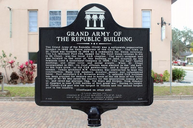 Grand Army of the Republic Building Marker-Side 1 image. Click for full size.