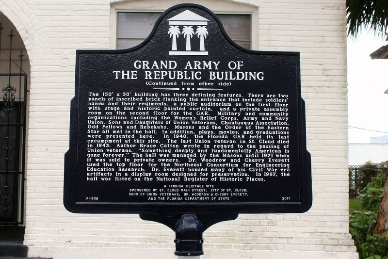 Grand Army of the Republic Building Marker-Side 2 image. Click for full size.