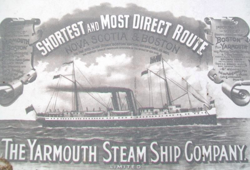 Advertisement on the <i>Y</i>armouth-Boston Ferry Marker image. Click for full size.