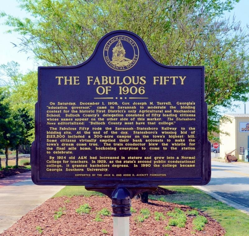 The Fabulous Fifty of 1906 Marker (Side 1) image. Click for full size.