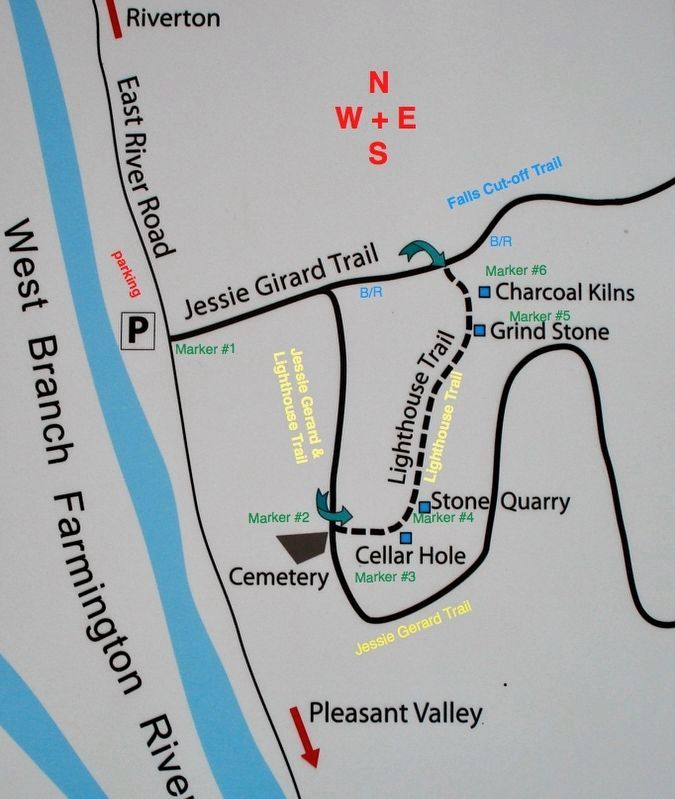 Map of the Lighthouse Trail with its 6 markers. image. Click for full size.