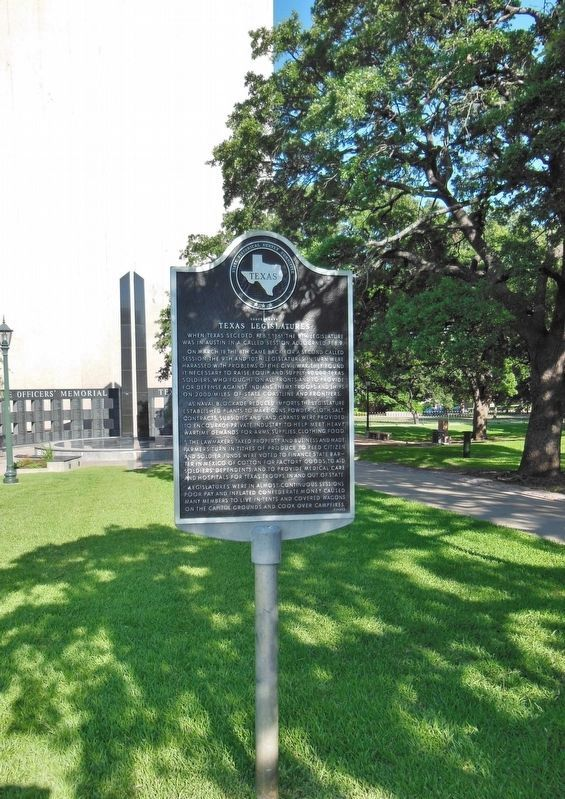 Confederate Texas Legislatures Marker (<i>tall view</i>) image. Click for full size.