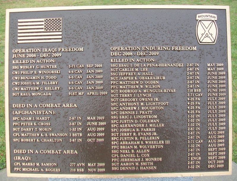 10th Mountain Division Heroes Walk Memorial Marker image. Click for full size.