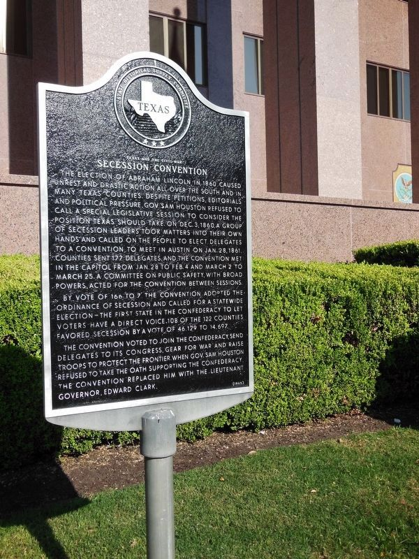 Texas and the Civil War Marker (<i>tall view</i>) image. Click for full size.